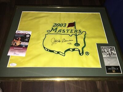 Jack Burke 1956 Masters Winner SIGNED 2003 Masters FLAG Framed JSA  - Framed Masters Flag
