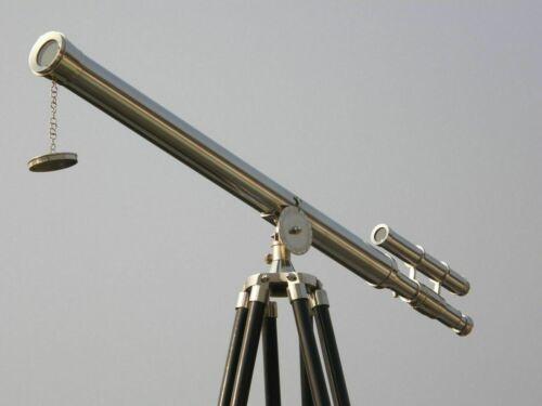 MARINE NAVY Nautical Vintage Handmade Brass Telescope Barrel Brown Wooden Tripod