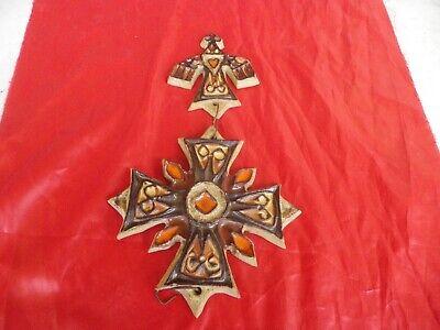 Cross Huguenot Ceramic Enamelled Anduze 1992 / cross of Malta Dove