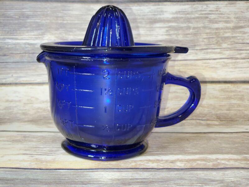 "Cobalt Blue ""Depression Style"" Citrus Juicer/Reamer, with 2c Measuring Cup- 2 pc"