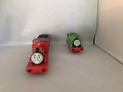 Two NOT WORKING Percy + James of Thomas & Friends Trackmaster Toy Trains, PARTS