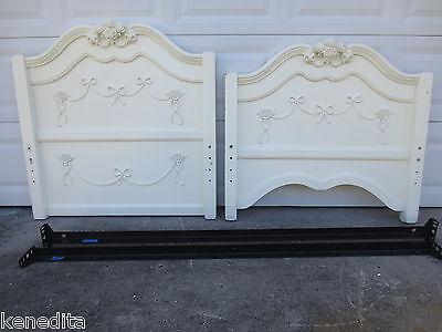 (Roses White Twin Size Bed Kids Cottage Shabby Chic Coastal Romantic Disney?)