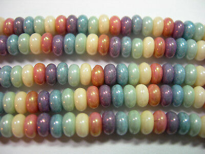 Luster Glass Beads (50 beads -  Rainbow Luster Czech Glass Rondelle Beads 2x4mm )