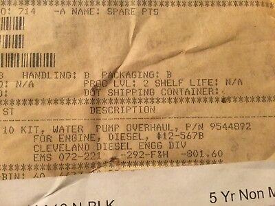 Cleveland Diesel Engine Water Pump Overhaul Kit 9544892