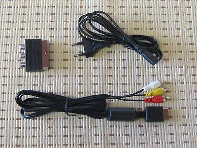 Stromkabel + TV/AV Chinch Kabel + Scart Adapter für Playstation PS1 PS2 PS3 NEU Ps3 Av-kabel