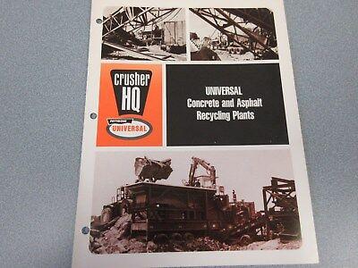 Rare Pettibone Universal Concrete Asphalt Recycling Plants Sales Brochure