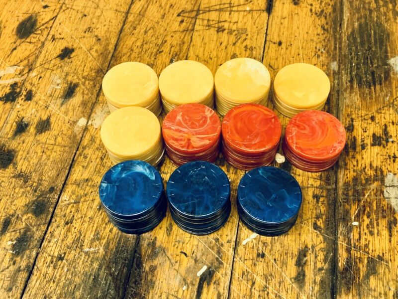 102 Bakelite Poker Chips Red, Blue And Butterscotch