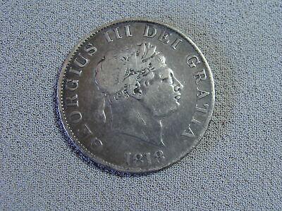 1818 HALF CROWN - GEORGE III BRITISH SILVER COIN