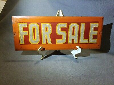 """VINTAGE """"FOR SALE"""" RED YELLOW & ORANGE METAL SIGN REFLECTIVE LETTERING!!!"""