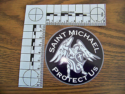 """Thin Blue Line """"St. Michael Protect Us""""  Police Decal Top Quality & SHIPS FREE!"""