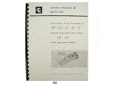 Cincinnati Tray Top Lathe Model Le Service Manual Parts List 10 To18 502