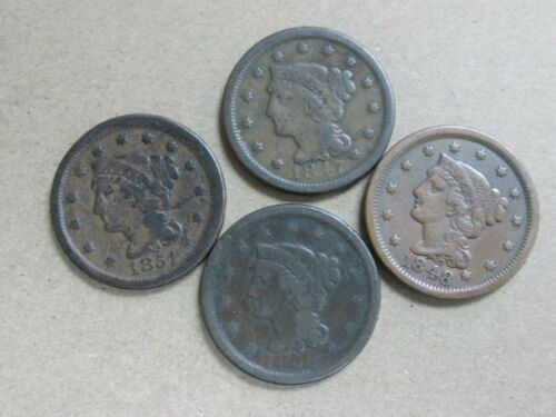 Lot of 4 Braided Hair Large Cents 1847-1851 F to VF Q2KW