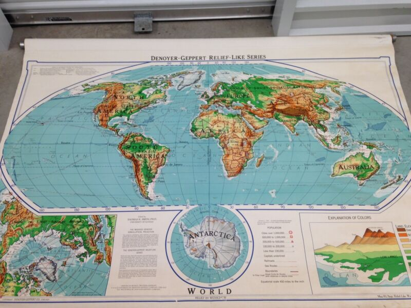 Vintage Denouer-Geppert World Map Pull Down School Map