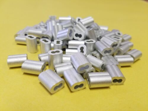 "Aluminum Swage crimps/Sleeves for 3/32"" Wire Rope Cable:50,100,200,500 &1000 pcs"