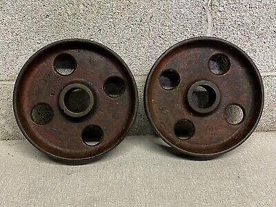 Vintage 8 Cast Iron Antique Hit And Miss Gas Engine Cart Wheels Flat Belt