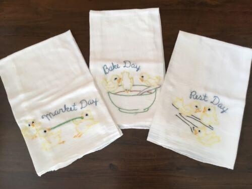 Vintage White Cotton Kitchen Dish Embroidered Towels -rest Bake market  (EE92)