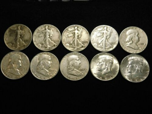$5 FACE VALUE LOT OF 10 WALKERS, FRANKLIN , KENNEDY HALF DOLLARS 90% SILVER ML3