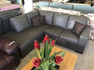 Full Leather Sofa with Chaise Wangara Wanneroo Area Preview