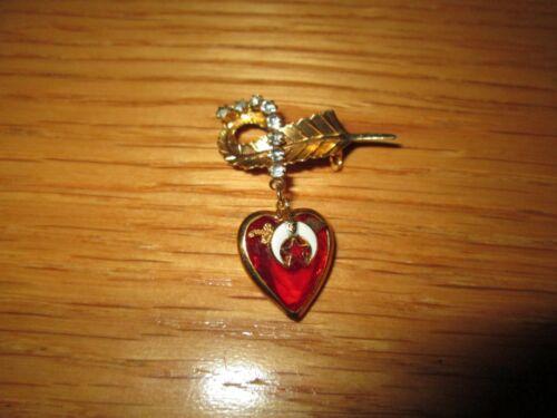 Vintage SHRINERS Masonic Sword Heart Pin Brooch