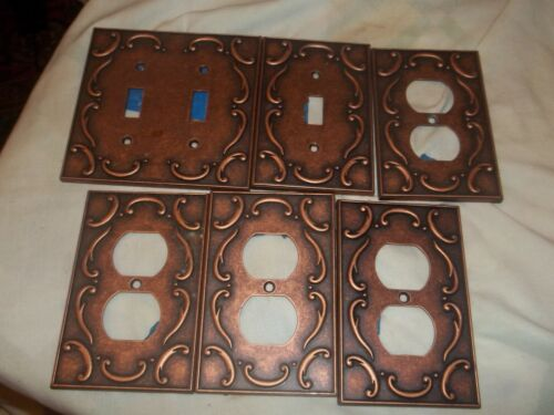 VINTAGE  Switch Plate and Duplex Cover  Assortment OLD STOCK  copper  6  pcs