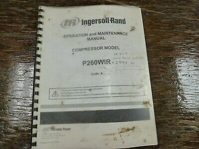 Ingersoll Rand P260wir Towable Air Compressor Owner Operator Maintenance Manual