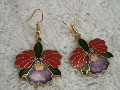 Goldtone Green Red Purple Iris Orchid Flower Pierced Earrings (B31)