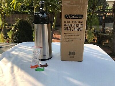 Bellemain 2.2 Liter Airpot Coffee Dispenser With Pump Stainless Steel Vacuum