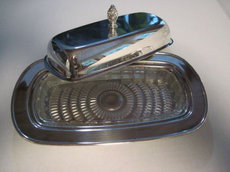Vintage WMA Rogers Silver Plated Butter Dish.
