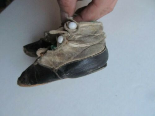 RARE PAIR of Tiny Victorian Leather SPATS, Shoes, Baby, Toddler, Bootie, 1870