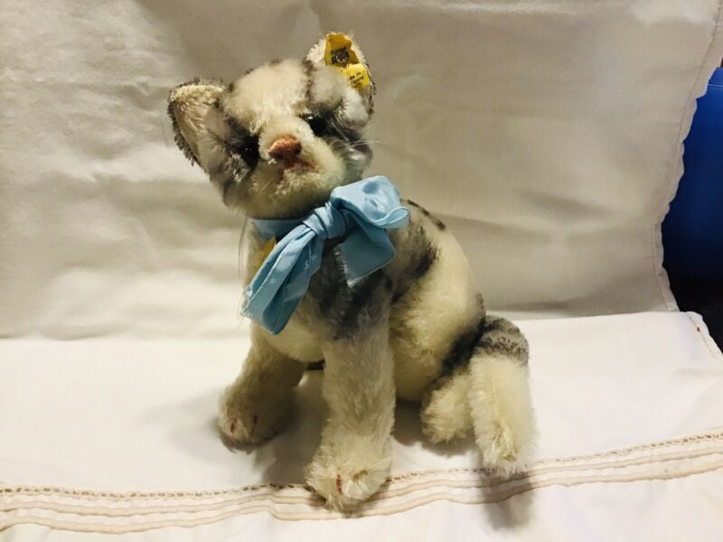 "Steiff Susi cat 8"" sitting w/ swivel head, antique vintage"