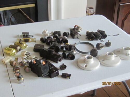 Vintage Lot Electrical Outlets Switches Plugs Sockets Porcelain light fixture ++