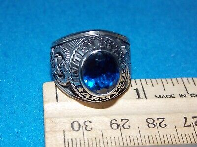 VINTAGE - ARMY DESERT STORM MEN'S BLUE STONE RING Size 9 - NOS - ALPHA BRAND