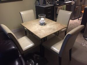 Dining table real marble with leather chair