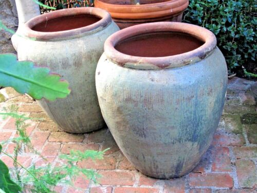 Vintage Pair Ceramic Large Garden Pots