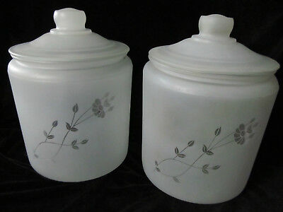 Lot 2 Lg Vintage MCM Matching Frosted Glass Cookie Jars Kitchen Containers SALE!