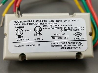 3 X Simplex 4098-9860 2 Wire Relay For 4098-9780 New In Box Fire Alarm Equip.