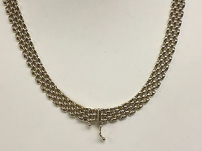 "14k Solid Yellow Gold Fashion PANTHER 5 Row Link Necklace  17""  6.5mm  24 grams"