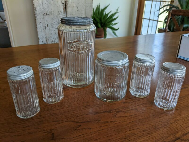 Vintage Hoosier Cabinet Coffee, Tea, and Spice Jars Canister Set Clear Ribbed