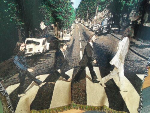 Vintage BEATLES Tapestry ABBY ROAD Blanket Coverlet Throw Couch Bed Wall Art
