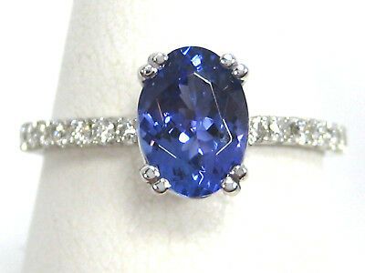 Tanzanite Ring 14K White Gold French Pave Solitaire Heirloom AAA App for sale  Shipping to Ireland