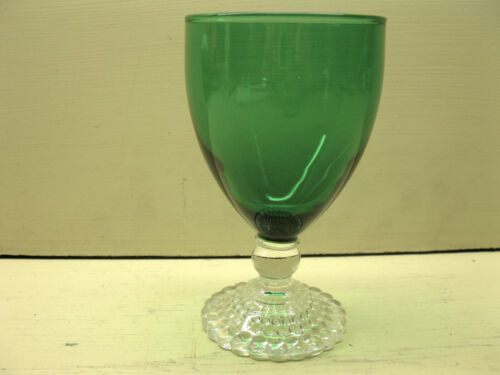 """Vintage Anchor Hocking FOREST GREEN Bubble Foot Water Goblet 5 3/8"""" EUC"""