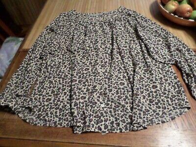 Ann Taylor Loft Plus NICE Brown Animal Print Blouse size 16  3/4 Sleeve LOOK