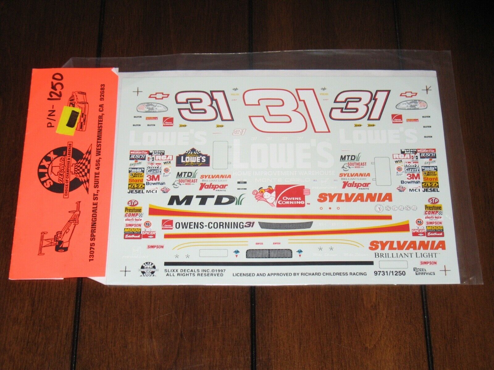 Slixx NASCAR 1250 31 Lowe's Mike Skinner Chevy Monte Carlo Waterslide Decal 1/24