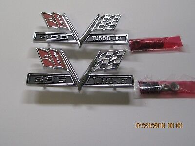 1965-67 Chevy Chevelle & Full Size Chevy Pair Front Fender Emblem X-Flag 396
