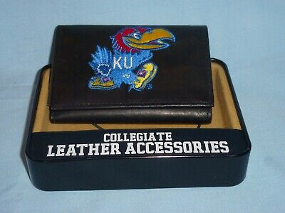 KANSAS JAYHAWKS embroidered Leather TriFold Wallet NEW in TIN BOX  black  $35