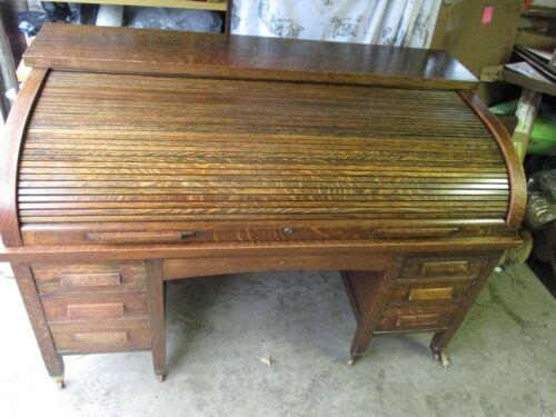 Large Antique Solid Oak Roll Top Desk 1900