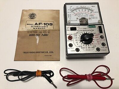 Hioki Electric Multimeter Tester Model Af-105 Manual Probes Leather Case