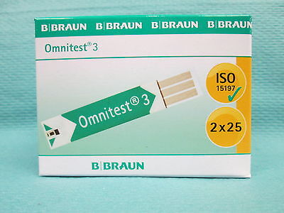 B.Braun Omnitest® 3 Blutzucker Teststreifen Messen Messung 2x25 Stück