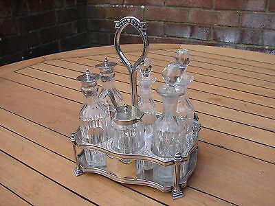 Victorian Silver Condiment & Cut Glass Cruet 6 Piece Plated Set Jonathan Bell