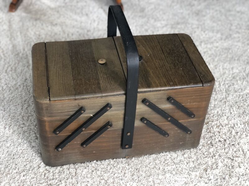 Poland Accordion Sewing Box Filled With Vintage Sewing Kit Accessories
